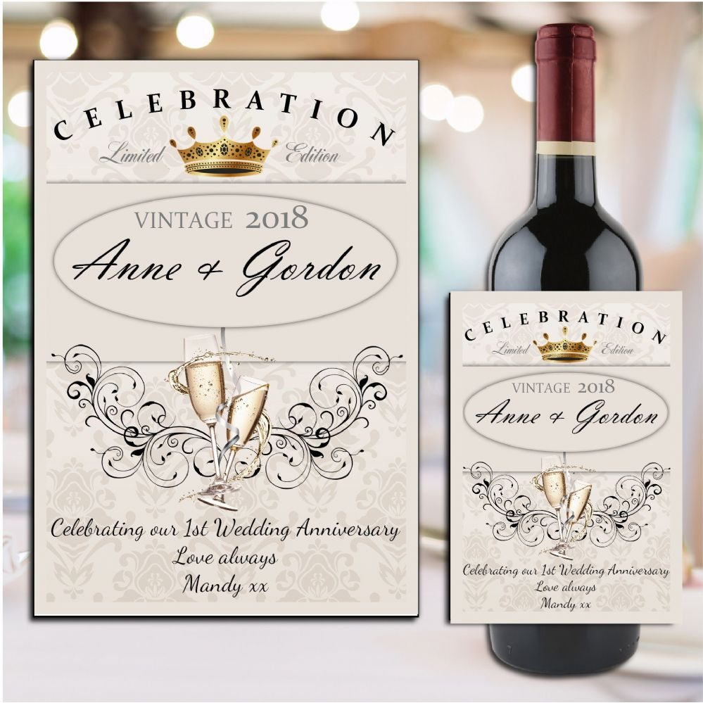 Personalised 1st 2nd 3rd 4th Wedding Anniversary Wine
